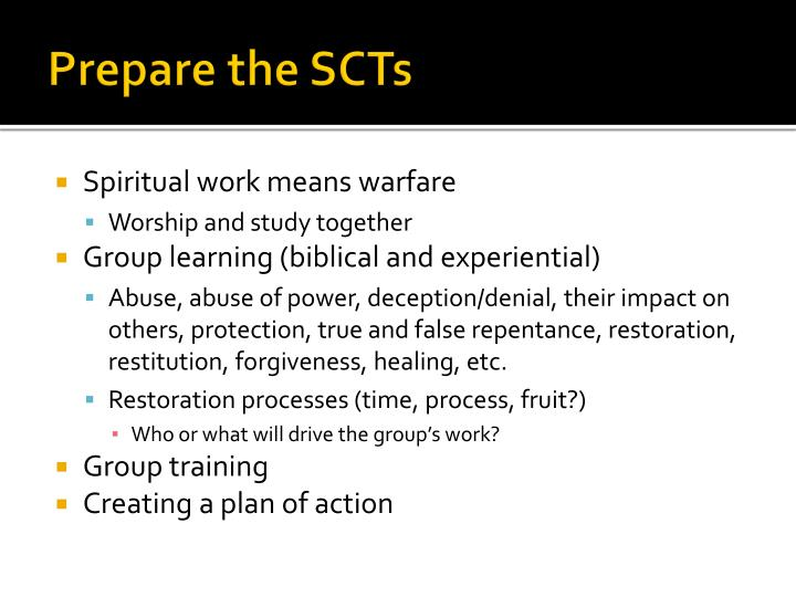 Prepare the SCTs