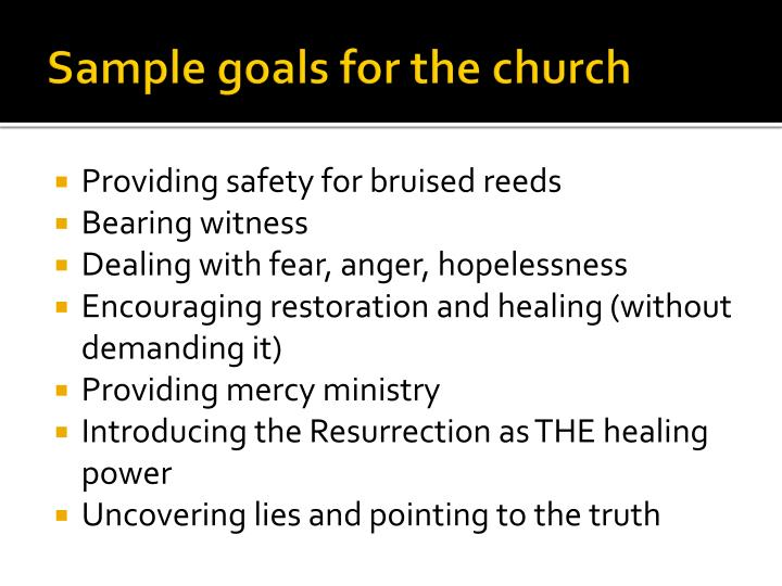 Sample goals for the church