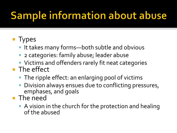 Sample information about abuse