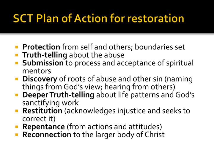 SCT Plan of Action for restoration