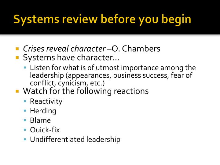 Systems review before you begin