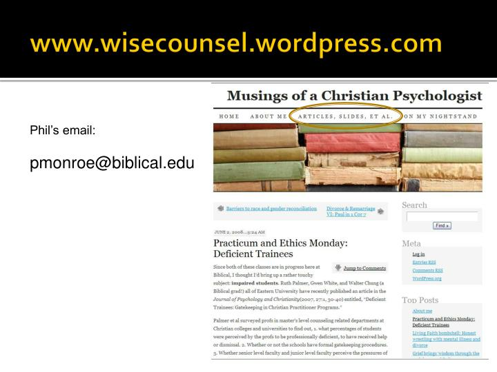 www.wisecounsel.wordpress.com