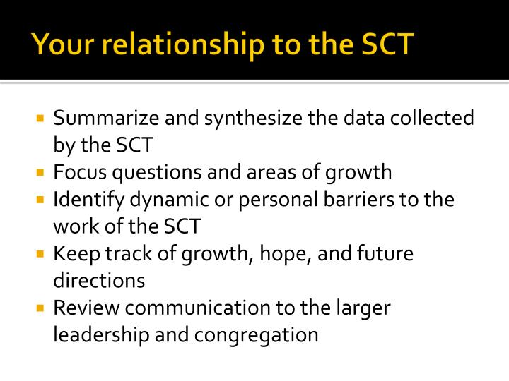 Your relationship to the SCT