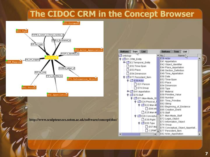 The CIDOC CRM in the Concept Browser