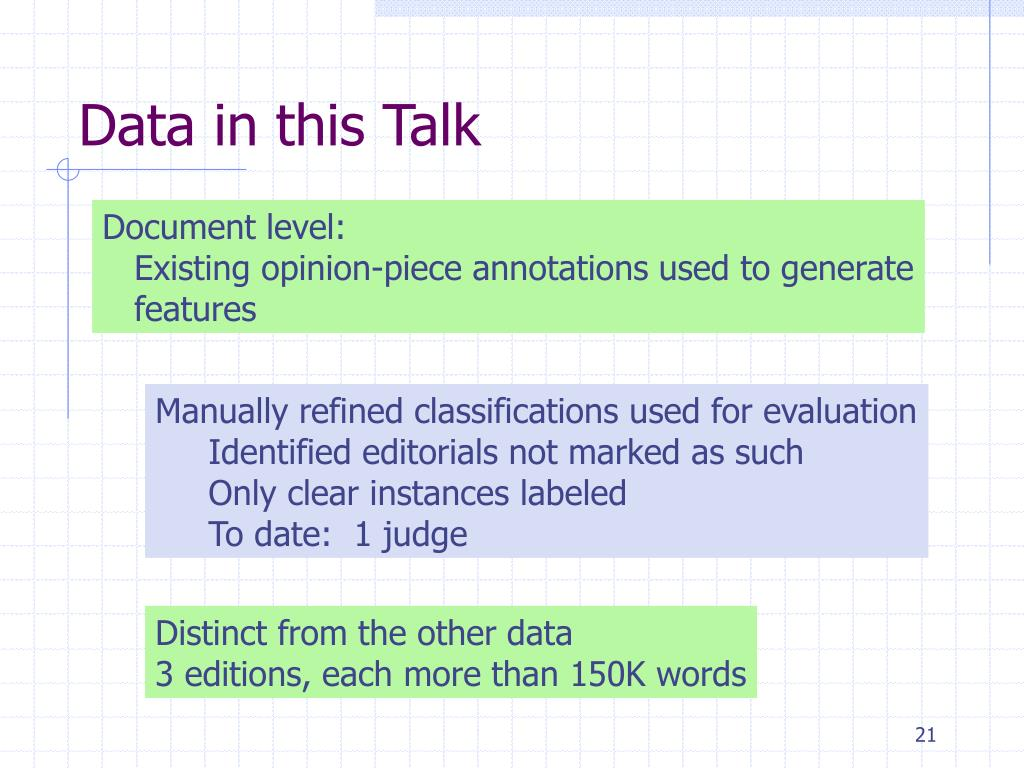 Data in this Talk