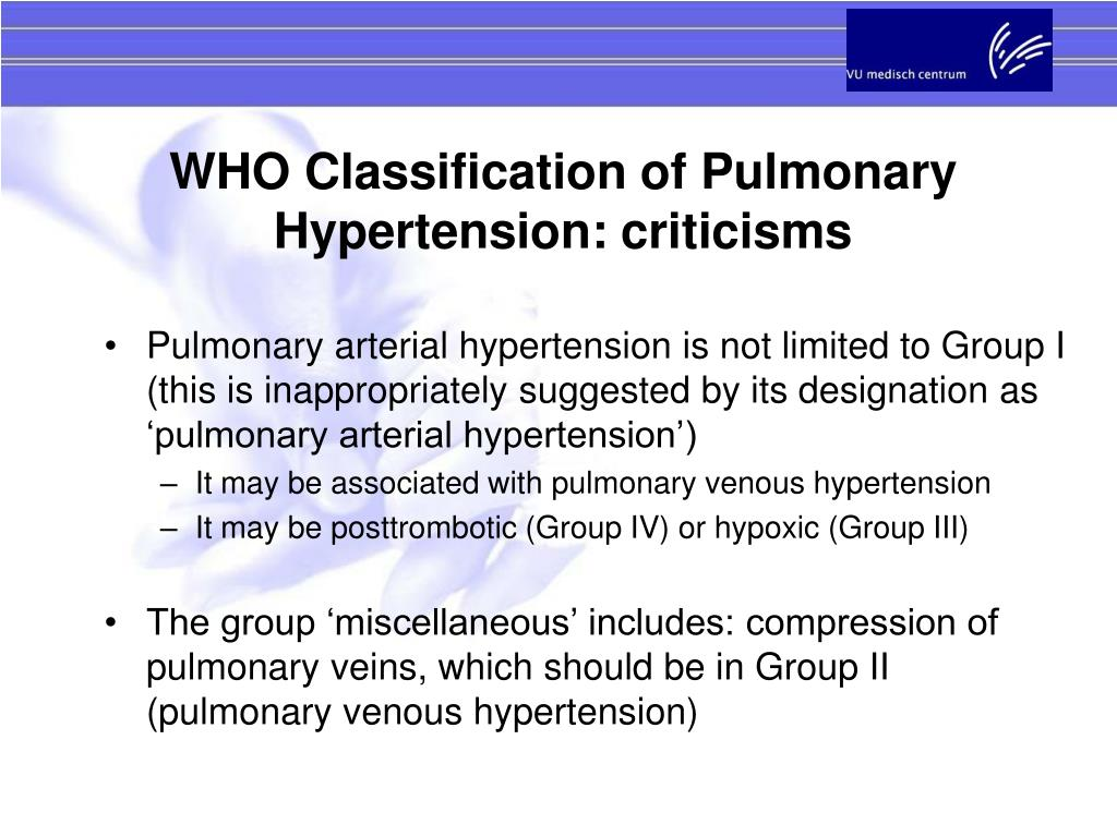WHO Classification of Pulmonary Hypertension: criticisms