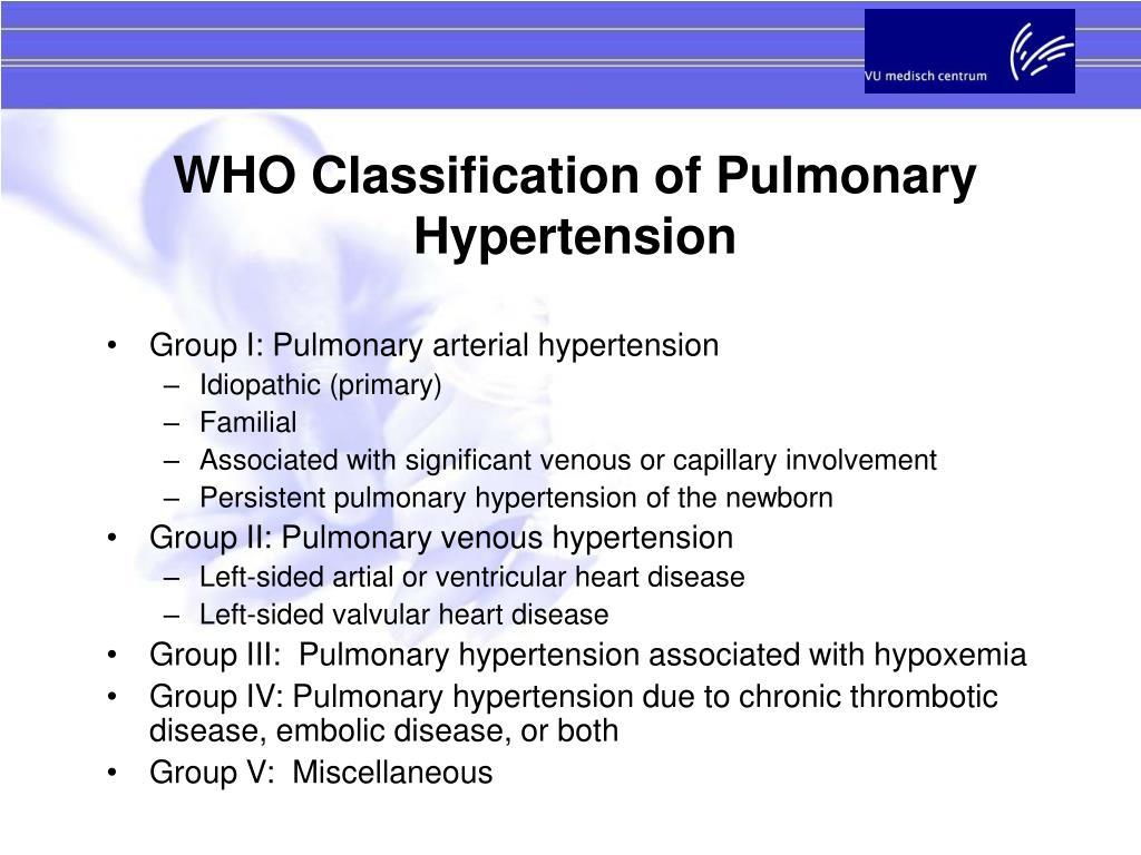 WHO Classification of Pulmonary Hypertension