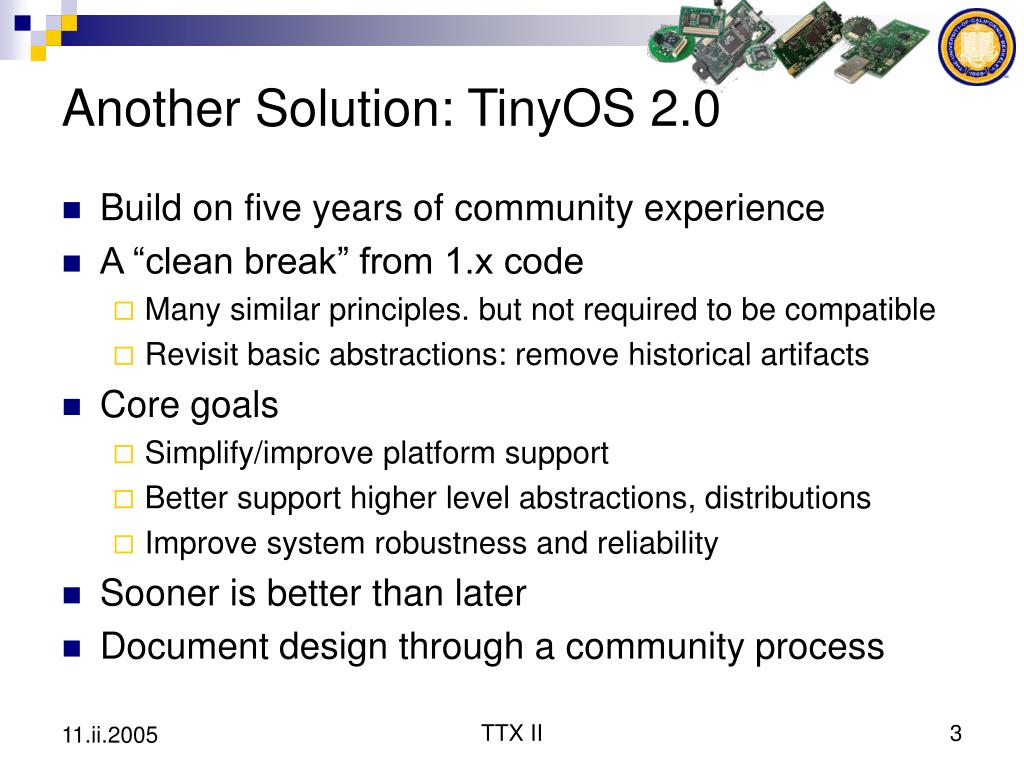 Another Solution: TinyOS 2.0