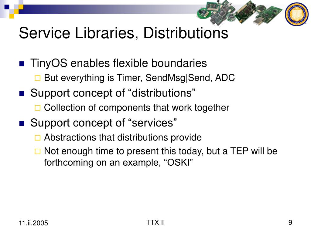 Service Libraries, Distributions