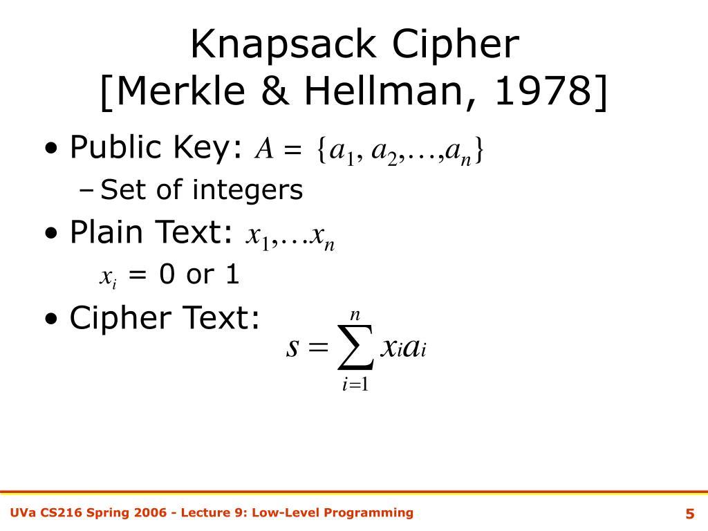 Knapsack Cipher