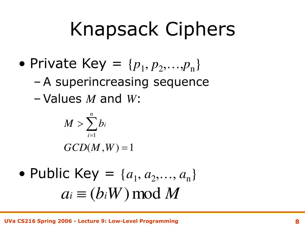 Knapsack Ciphers