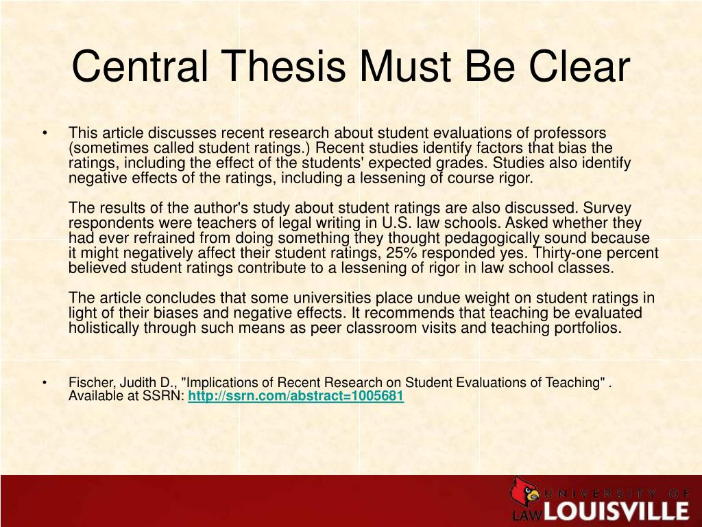 Central Thesis Must Be Clear