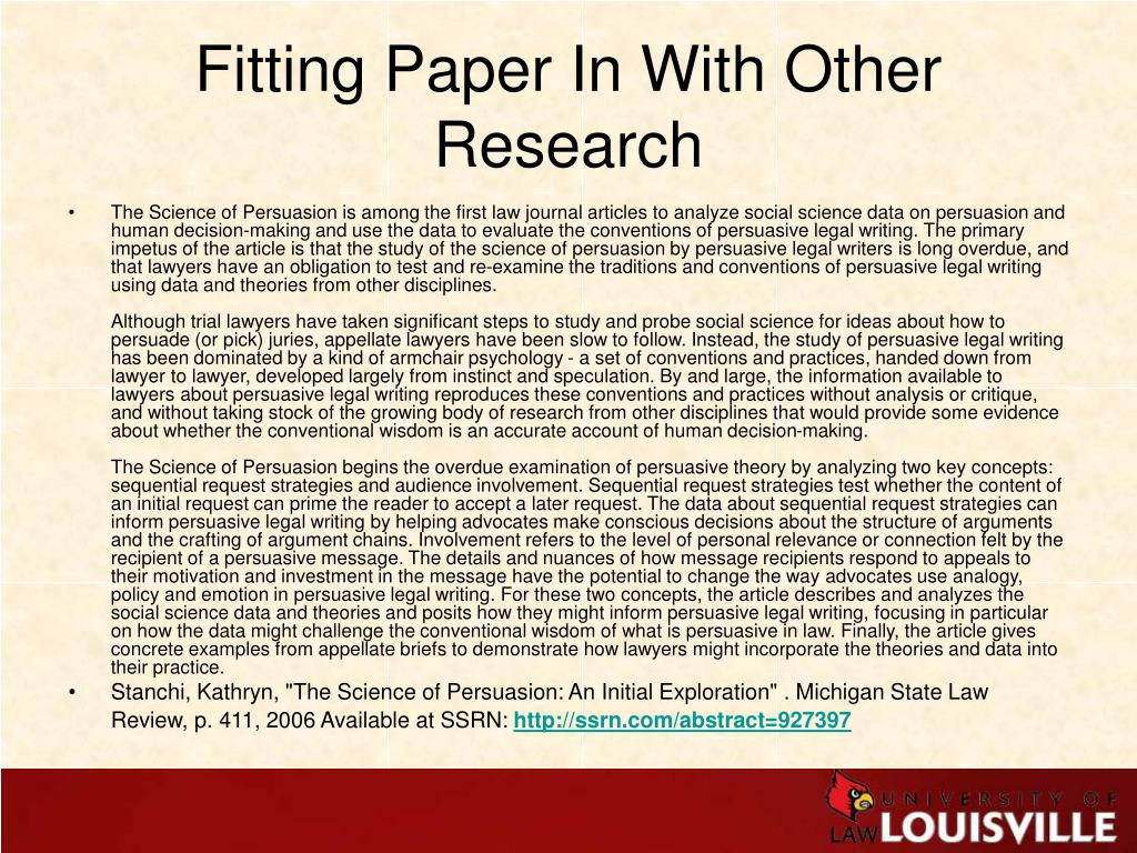 Fitting Paper In With Other Research