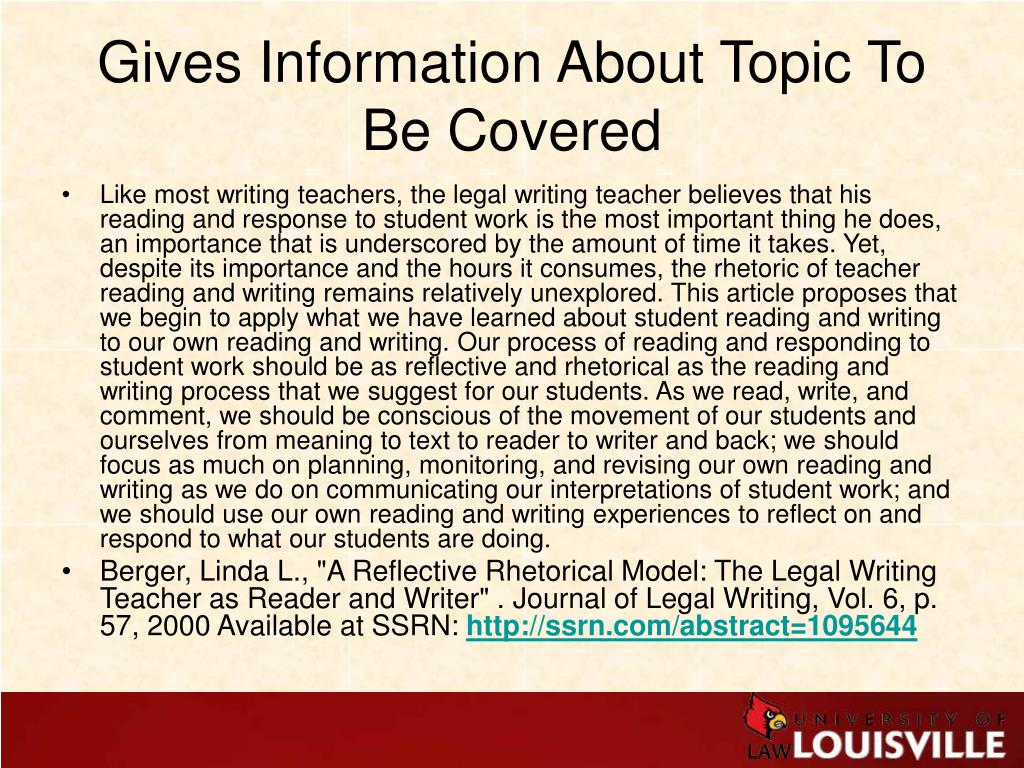Gives Information About Topic To Be Covered
