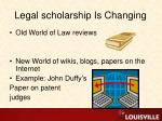 legal scholarship is changing