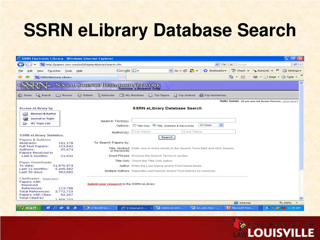 SSRN eLibrary Database Search