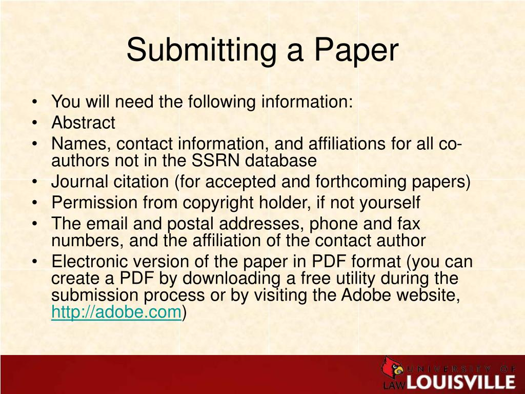 Submitting a Paper