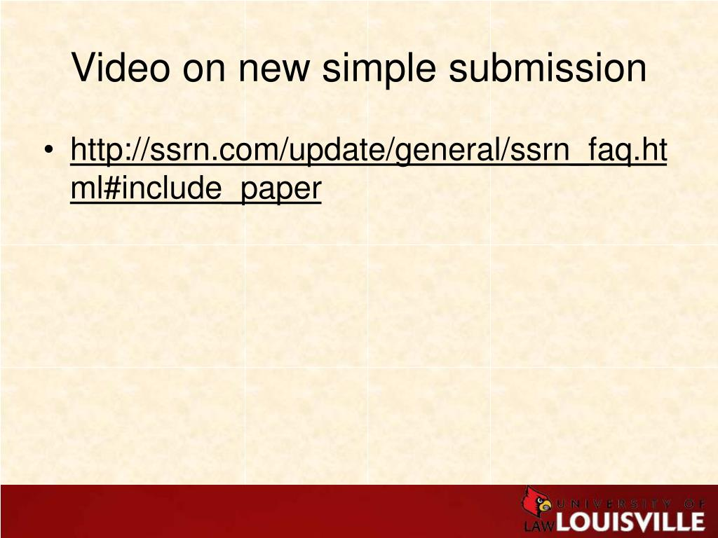 Video on new simple submission