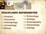 disciplines represented