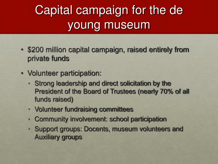 Capital campaign for the de young museum