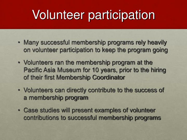 Volunteer participation