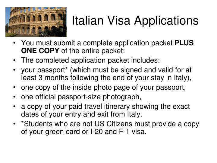 Italian Visa Applications