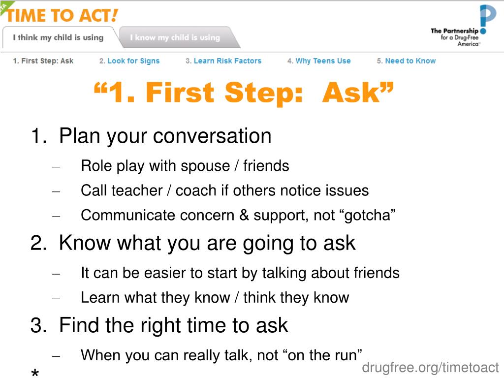 """1. First Step:  Ask"""