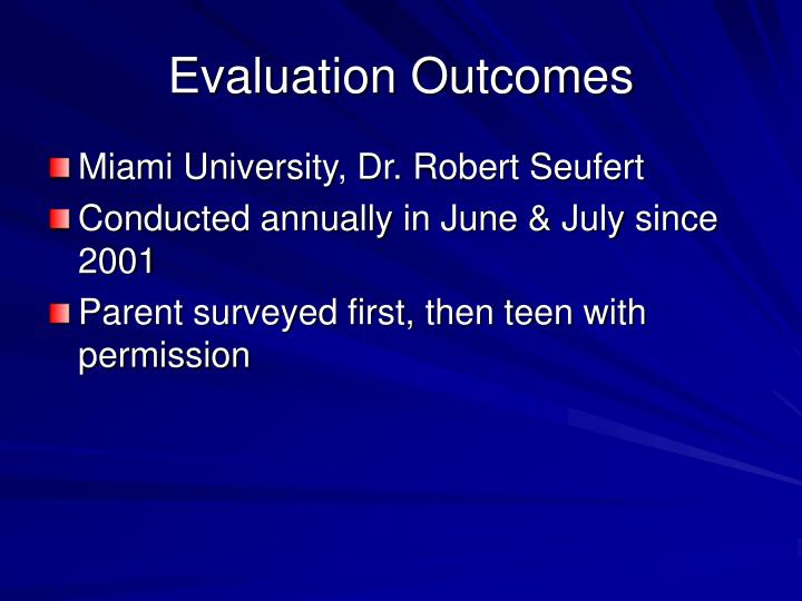 Evaluation Outcomes