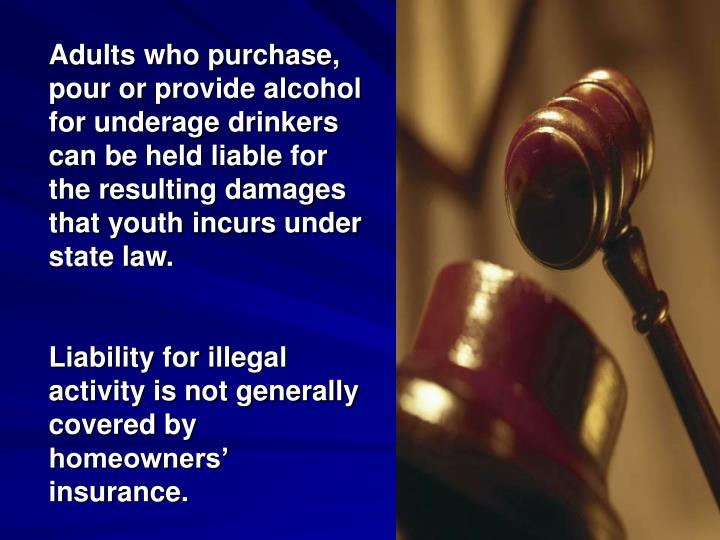 Adults who purchase, pour or provide alcohol for underage drinkers can be held liable for the resulting damages that youth incurs under state law.