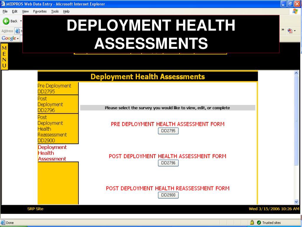 DEPLOYMENT HEALTH ASSESSMENTS