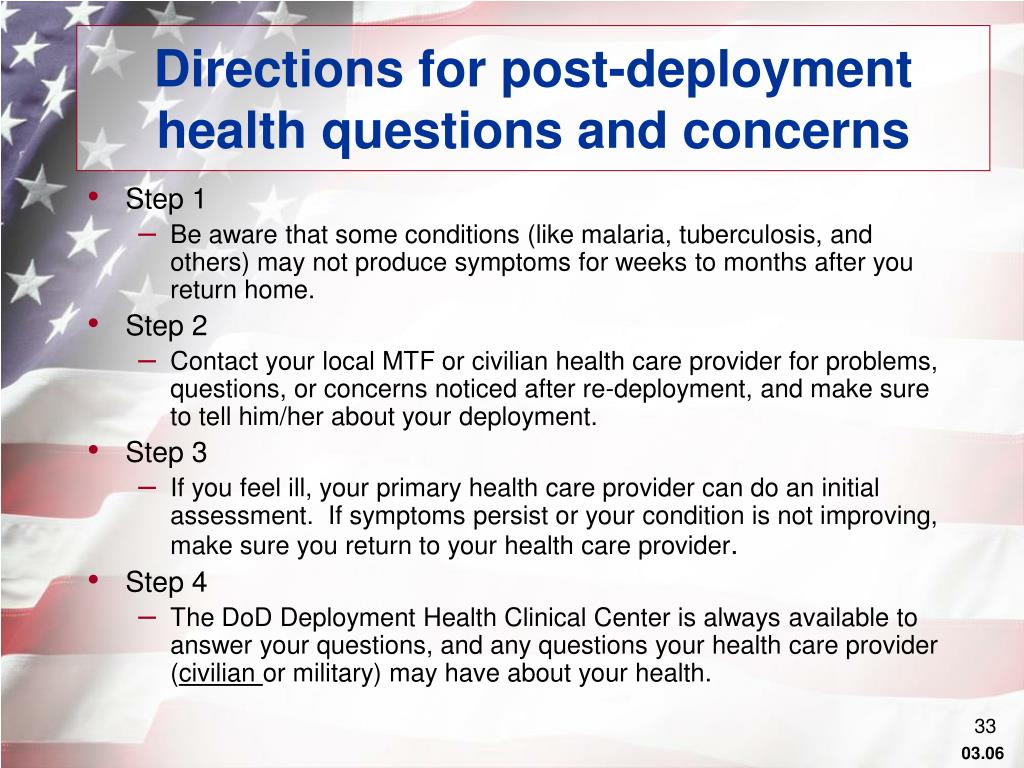 Directions for post-deployment health questions and concerns