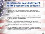 directions for post deployment health questions and concerns