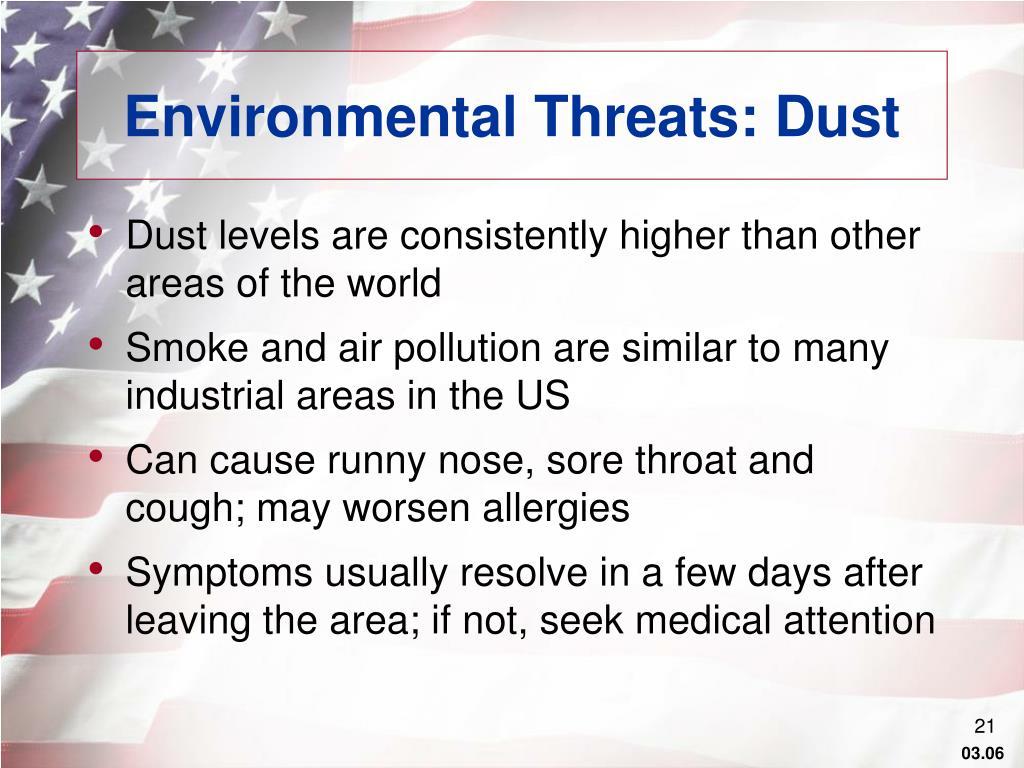 Environmental Threats: Dust