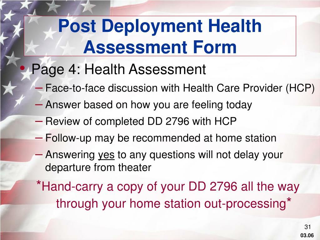 Post Deployment Health Assessment Form