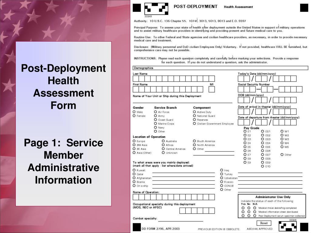 Post-Deployment Health Assessment Form