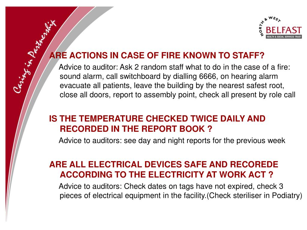 ARE ACTIONS IN CASE OF FIRE KNOWN TO STAFF?
