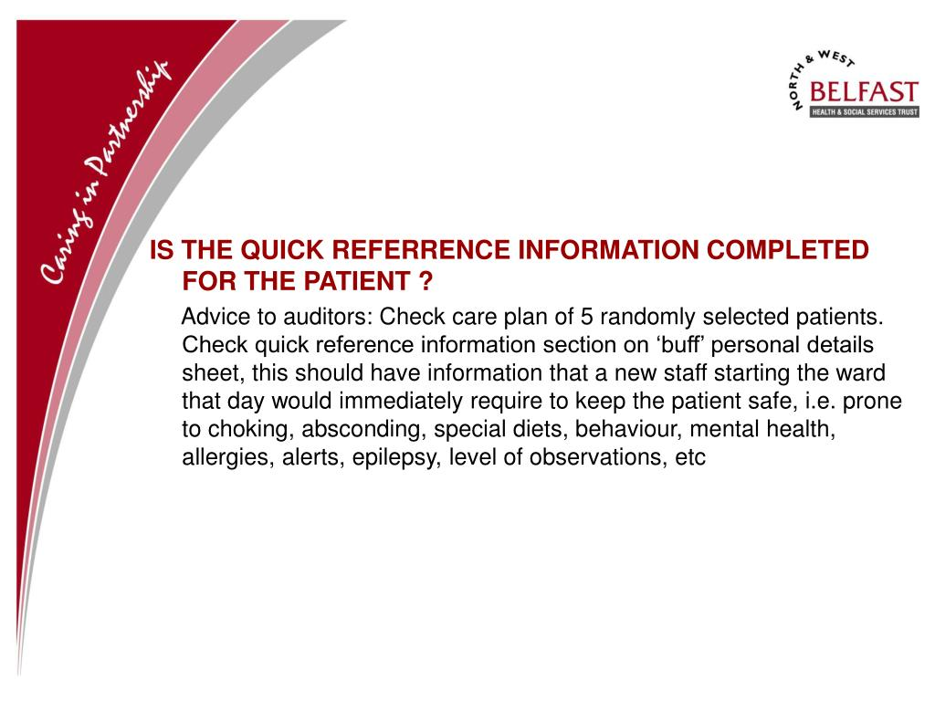 IS THE QUICK REFERRENCE INFORMATION COMPLETED FOR THE PATIENT ?