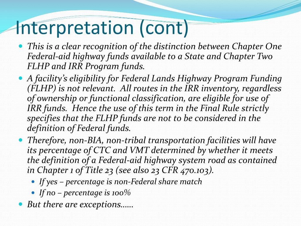 Interpretation (cont)