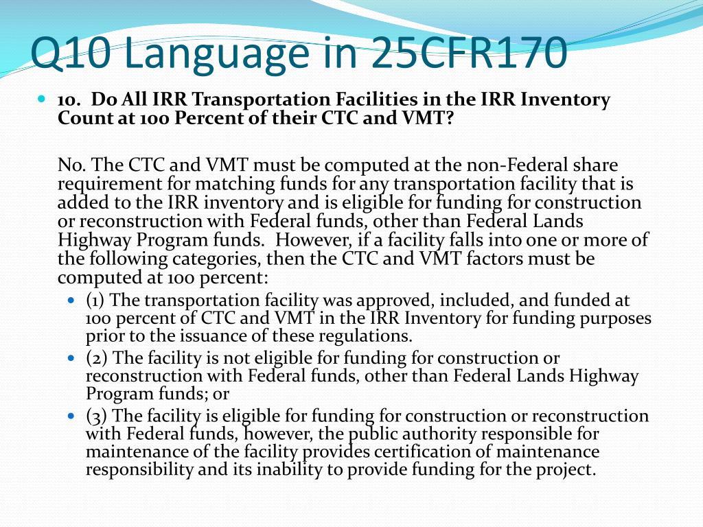 Q10 Language in 25CFR170