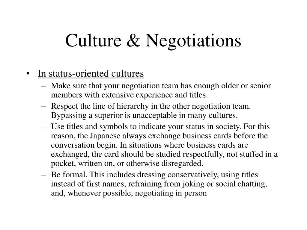 Culture & Negotiations