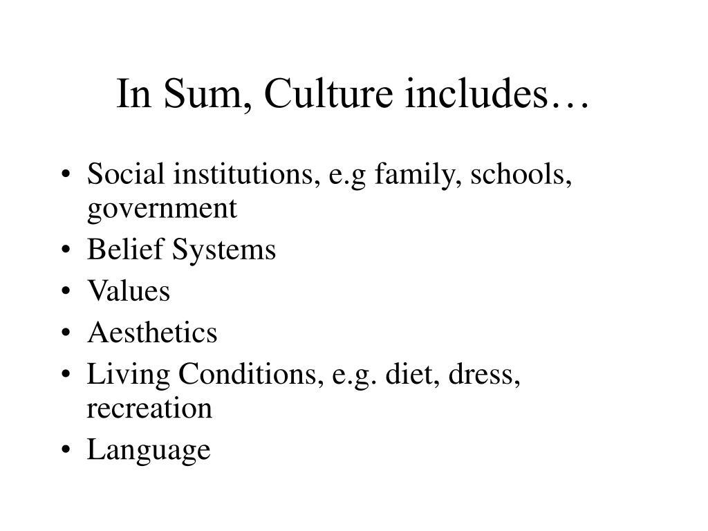 In Sum, Culture includes…