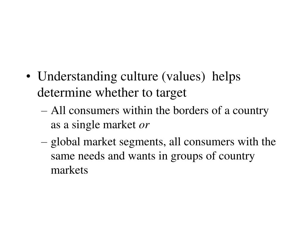 Understanding culture (values)  helps determine whether to target