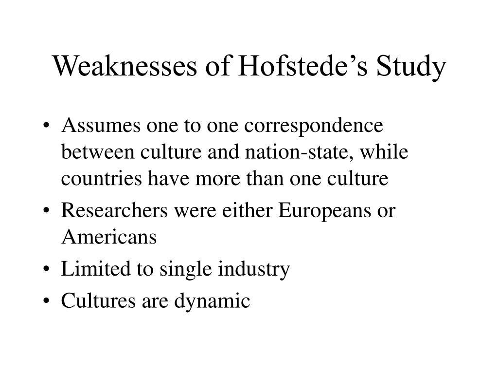 Weaknesses of Hofstede's Study