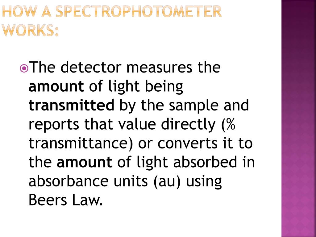 How a spectrophotometer works: