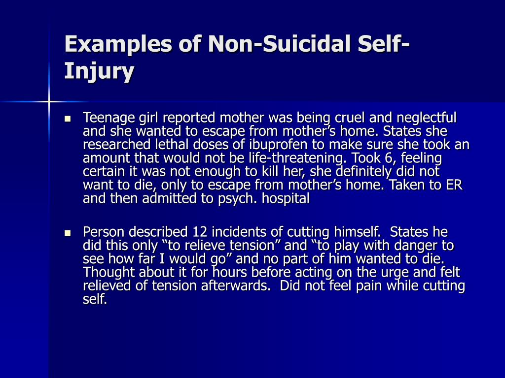 Examples of Non-Suicidal Self-Injury