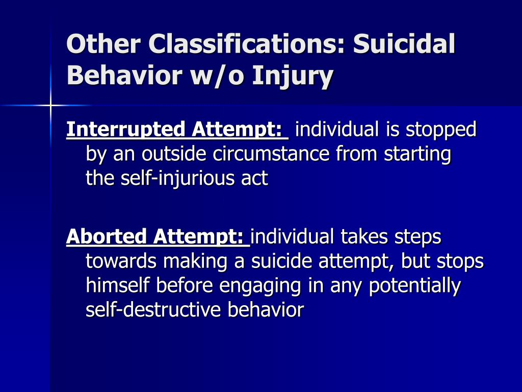 Other Classifications: Suicidal Behavior w/o Injury