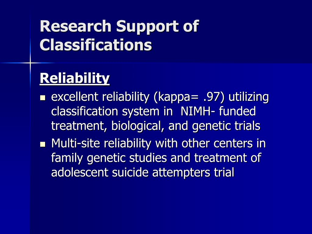 Research Support of  Classifications
