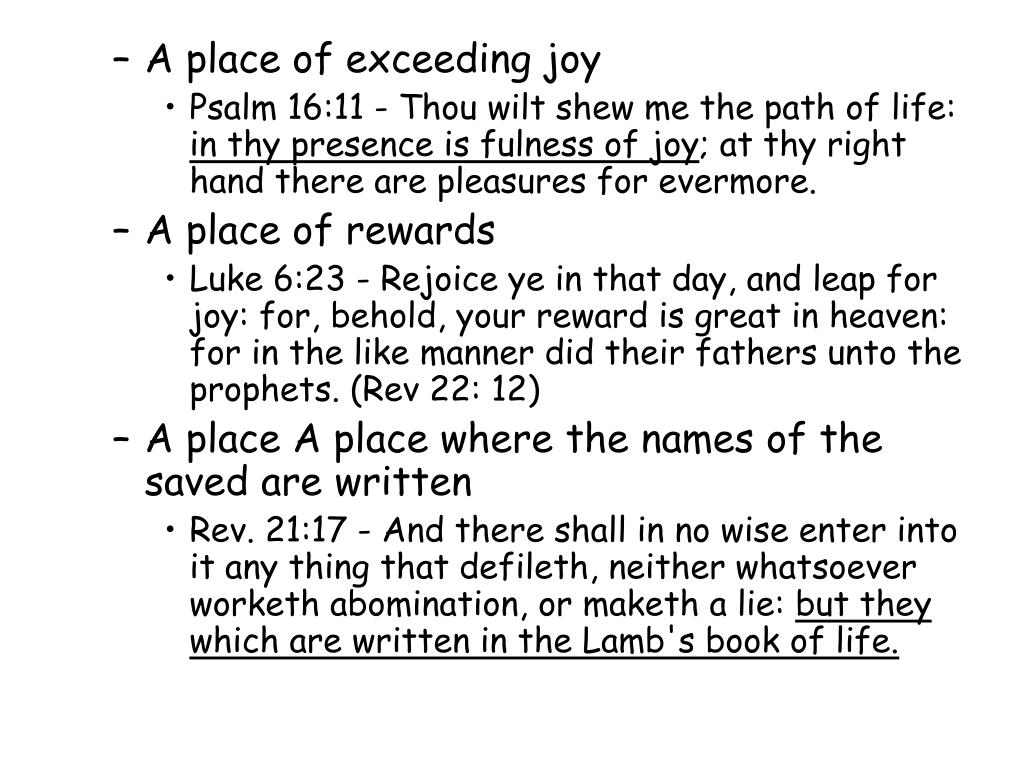A place of exceeding joy