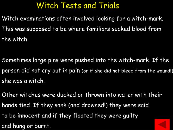 Witch Tests and Trials