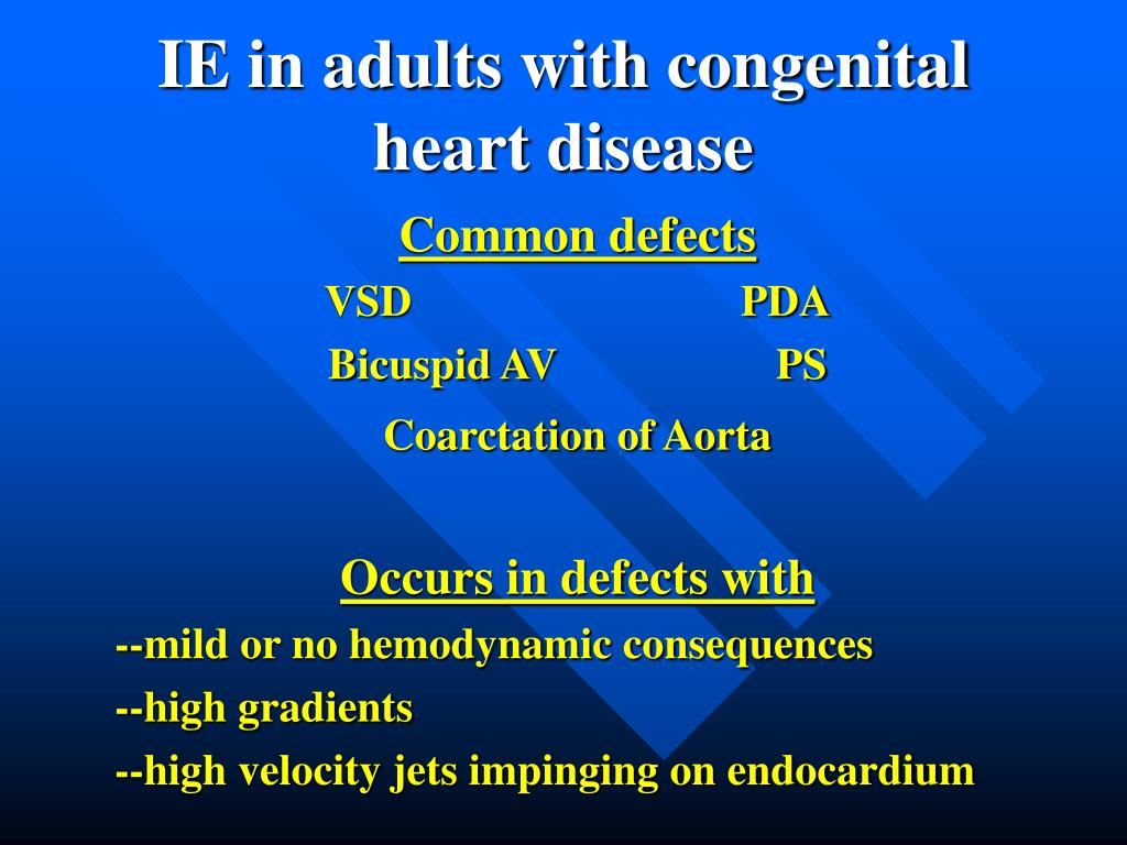 IE in adults with congenital heart disease